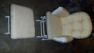 White Rocking Chair with Yellow Cushions