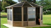 Aluminum Gazebos with Polycarbonate Hard Roof! Toit Rigide