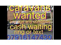 Caravans bought for cash from £100-£2500