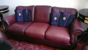 Beautiful Burgundy Leather Couches with Detailing