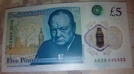 £5 plastic note - Serial Number AH20