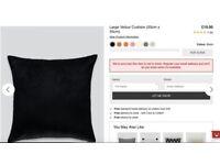 Matalan Large 55x55 Velour Sofa Cushion Black (2 for sale)