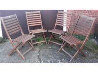 Set Of Four Teak Garden Or Patio Folding Chairs