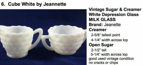 ESTATE SALE: Vintage CREAM & SUGAR Cube White by Jeannette Depression Milk Glass