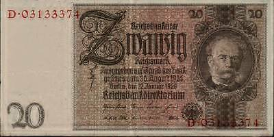 1929 Nazi Germany 20 Reichsmark banknote