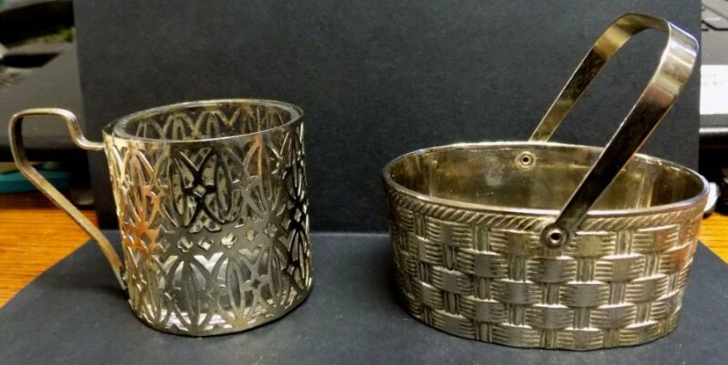 2 VINTAGE SILVER PLATE PIECES~SMALL BASKET, CUP~RAMOND