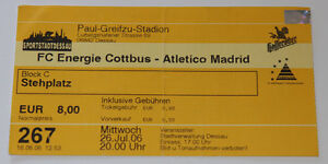 old TICKET * Energie Cottbus Germany - Atletico Madrid Spain - <span itemprop='availableAtOrFrom'>Poznan, Polska</span> - old TICKET * Energie Cottbus Germany - Atletico Madrid Spain - Poznan, Polska