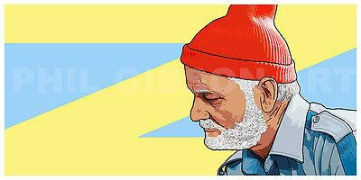 Original Zissou Red Cap Of Action Art Print Poster Wes Anderson Fantastic Mr Fox