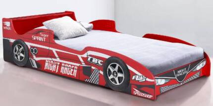 Wings Racing Car Bed with LED light + 1 Pillow  (Red)
