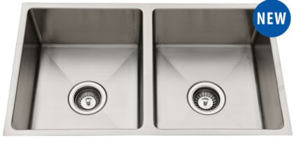 Double bowl stainless steel under/above mount sink