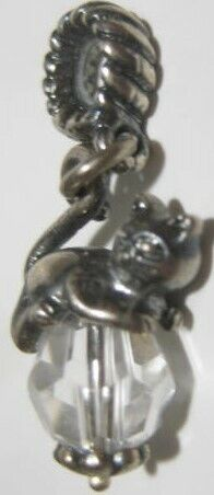 """Old Cat Chasing Crystal Charm Pendant  3/4"""" (1 1/8"""" with Hook) Sterling Silver"""