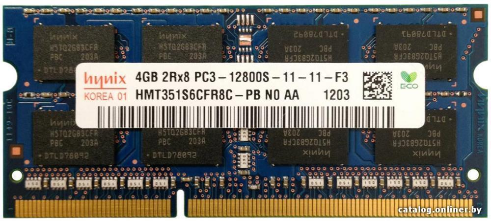 RAM 4GB DDR3 PC3-12800S 2Rx8 1600MHz PORTATILE MEMORIA 204PIN SODIMM HYNIX