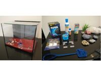 Fish Tank & 18+ Accessories - LED Light/ Food/ Medicine/ Pump/ Features/ Stones/ Filters + More