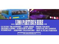 Limo PARTYBUS hire, Luxury travel, Entertainment onboard, all occasions, From £50ph, Gaming PartyBus