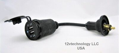 Waterproof 4.2 Amps Dual USB Charger Hella BMW Powerlet Plug Panel Socket 12V