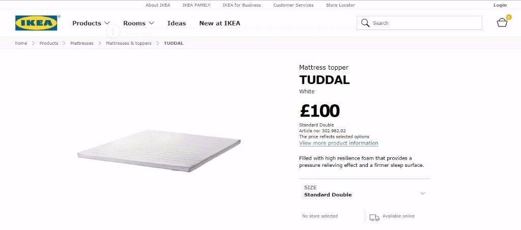 Mattress topper Ikea TUDDAL White