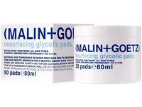 10 X JARS OF MALIN AND GOETZ RESURFACING GLYCOLIC PADS. 80ML..TEN JARS NEW BOXED ....cost 440 pounds