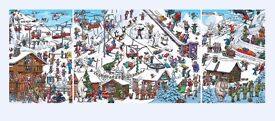 CHRISTMAS AT THE SKI RESORT TRIPLE CARTOON JIGSAW 3 PUZZLES HUMOUR 2000 pieces SPECIAL OFFER