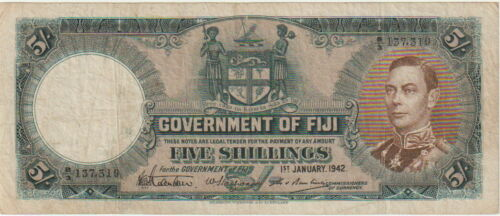 "Fiji Island Government 5 Shillings Banknote 1.1.1942 Very Fine,Pick#37-E""King"""