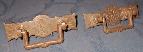 Nice Pair  Antique  Eastlake Design  Brass  Drawer Pulls