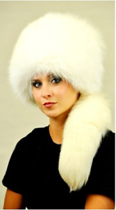 New White fox fur hat with tail