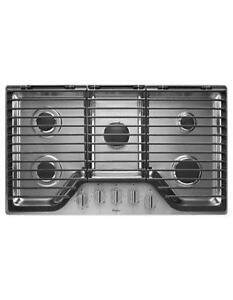 Whirlpool WCG97US6DS 36 inch 5 Burner Gas Cooktop with EZ-2-Lift Hinged Cast-Iron Grates-Brand New(MP_245)