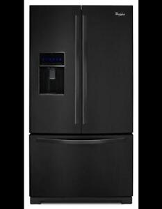 "Whirlpool WRF736SDAB Black French Door Refrigerator, 36"" Width, Thru Door Ice Dispenser"