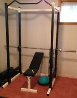 Northern Light Power Rack Cage, Adjustable Bench, Weights + Bar