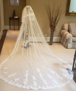 12 Foot Cathedral Veil (Ivory) with Blusher and Lace trim