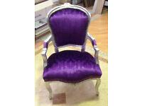 Embossed Purple velvet french louis armchair
