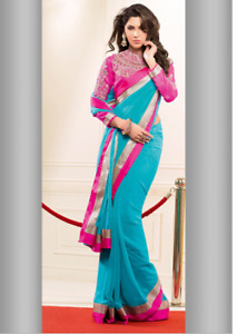 Blue and Pink Saree for Sale