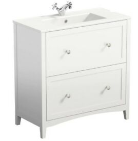 White bathroom sink/basin/countertop unit with two drawers NEW