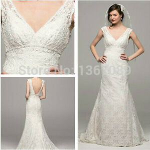 All Over Beaded Lace Trumpet Wedding Dress by David's Bridal