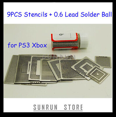 2013 Hottest 9pcs Bga Stencil Ps3 Xbox 0.6mm Ball Solder 25k Bottle 1 With Kit