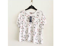 New limited edition for marks and Spencer collection dog print top available in sizes 12 and 14