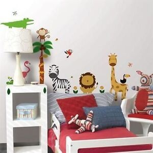 JUNGLE-ANIMALS-wall-stickers-41-decals-ZOO-SAFARI-tree-monkey-elephant-lion