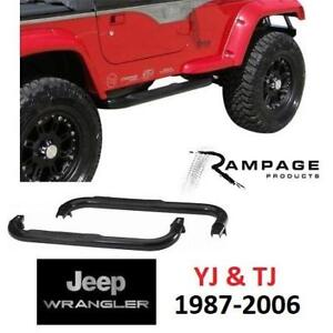 NEW RAMPAGE JEEP STEP BARS 8625 219165630 BLACK 1987-2006 WRANGLER YJ AND TJ