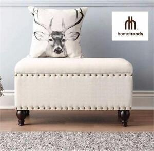 NEW HOMETRENDS STORAGE BENCH   STORAGE BENCH WITH NAILHEAD DETAIL, NATURAL LINEN HOME FURNITURE SEATING  98145692
