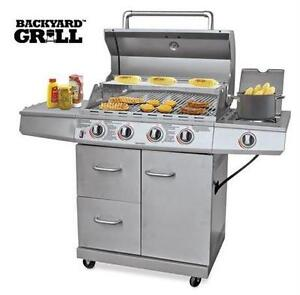 NEW* BACKYARD GRILL 4-BURNER BBQ STAINLESS STEEL - 48000 BTU AND 12000 BTU SIDE BURNER BARBECUE Outdoor Living BBQs