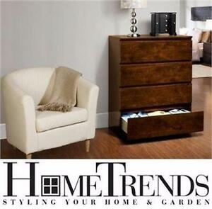 "NEW HOMETRENDS 4-DRAWER CHEST 4-DRAWER CHEST, WALNUT FINISH - 40""x16""x31.5"" - BEDROOM FURNITURE DRAWERS DECOR 92946313"