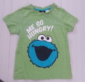 H&M Sesame Street Cookie Monster Me So Hungry Boys T-Shirt 2-4 y