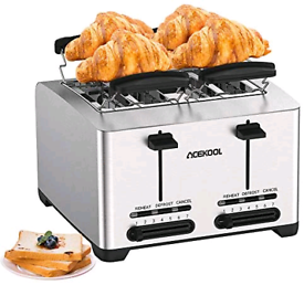 4 Slice Toaster, Acekool Compact Extra Wide Slot Stainless Steel Toast