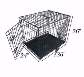 Large Dog Puppy Cage Folding 2 Door Crate with Non-Chew Metal Tray. 36-inch Black
