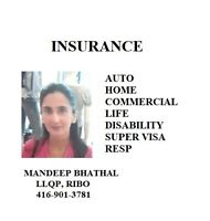AUTO, HOME, BUSINESS, TRAVEL AND LIFE INSURANCE