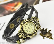 VINTAGE BRACELET WOMEN WRIST WATCH WITH ANGEL PENDANT- BLACK