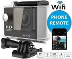 Action Cam Zwart 1080P Wifi 2 INCH LCD + accessoires
