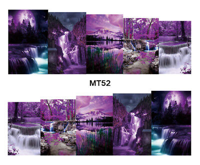 Nail Art Decals Transfers Stickers Waterfall Dream (MT52)