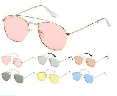 Womens Sunglasses Aviator FLAT Brow Bar Colors Retro Celebrity Contemporary   (Flat Brow Sunglasses)