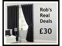 Medium Black Faux Silk Curtain