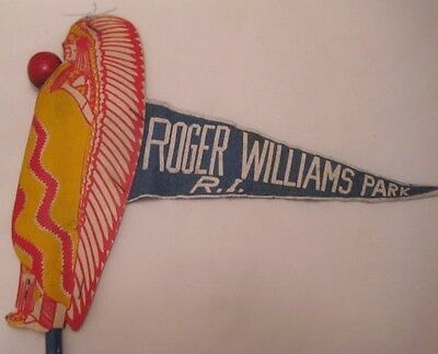 Old Roger Williams Park Rhode Island Souvenir Carnival Cane w/ Cardboard Indian